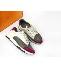 Женские кроссовки Hermes (Гермес) Trail кожаные на шнурках White/Gray