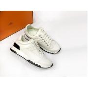 Женские кроссовки Hermes (Гермес) Trail кожаные на шнурках White
