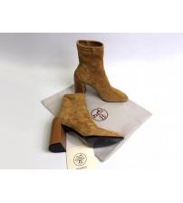 Женские ботильоны Hermes (Гермес) Vinca замшевые на каблуке Brown