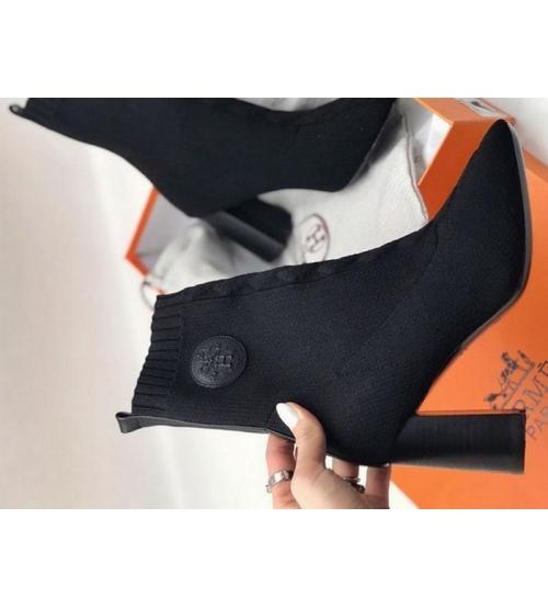 Женские ботильоны Hermes (Гермес) Volver 60 текстиль на каблуке Black