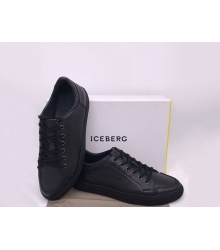 Кроссовки мужские Iceberg (Айсберг) кожаные на шнурках Black