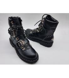 Ботинки женские Jimmy Choo (Джимми Чу) кожаные Black