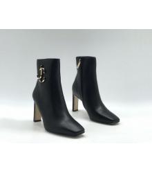 Ботильоны женские Jimmy Choo (Джимми Чу) кожаные на плоском каблуке Black