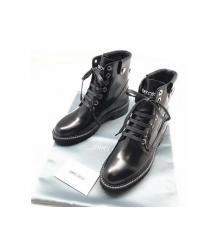 Ботинки женские Jimmy Choo (Джимми Чу) кожаные на шнуровке Black