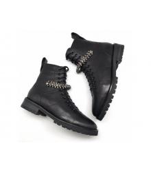 Женские ботинки Jimmy Choo (Джимми Чу) кожаные на шнуровке Black