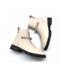 Женские ботинки Jimmy Choo (Джимми Чу) кожаные на шнуровке White