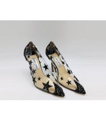 Женские туфли Jimmy Choo (Джимми Чу) летние комбинированные на высоком каблуке шпилька со звездами Black