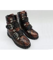 Ботинки женские Jimmy Choo (Джимми Чу) зимние на меху кожаные Brown