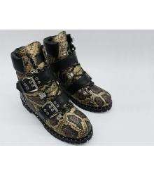 Ботинки женские Jimmy Choo (Джимми Чу) зимние на меху с узором змеи кожа Beige/Brown