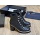 Ботильоны женские Le Silla (Ле Силла) кожаные толстый каблук на шнуровке Black