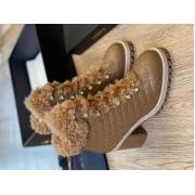 Ботильоны женские Le Silla (Ле Силла) St.Moritz Trekking кожаные толстый каблук мех овчина Brown