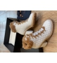 Ботильоны женские Le Silla (Ле Силла) St.Moritz Trekking кожаные толстый каблук мех овчина White
