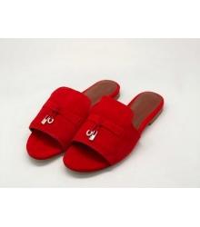Женские шлепки Loro Piana (Лоро Пьяна) летние замшевые Red