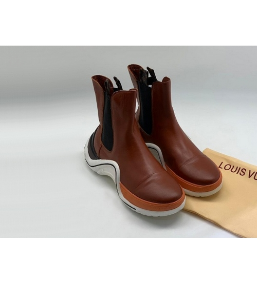 Ботинки женские Louis Vuitton (Луи Виттон) Archlight кожаные на шнурках Brown