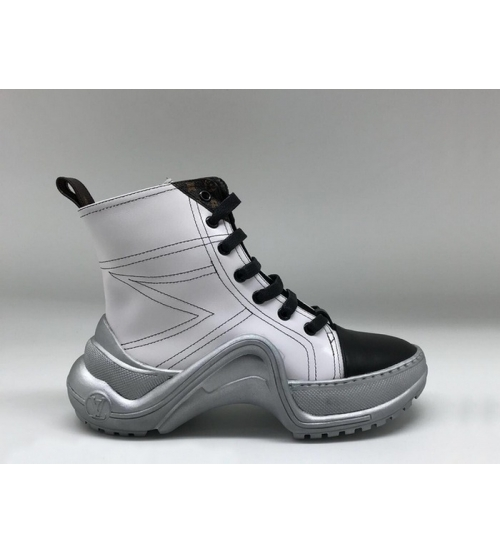 Женские ботинки Louis Vuitton (Луи Виттон) Archlight кожаные на шнурках White