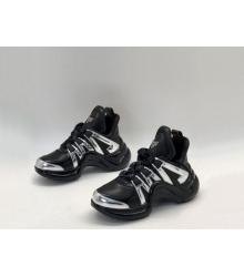 Женские кроссовки Louis Vuitton (Луи Виттон) Archlight LUX на шнурках Black/Silver