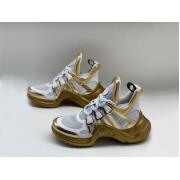 Женские кроссовки Louis Vuitton (Луи Виттон) Archlight LUX на шнурках White/Gold