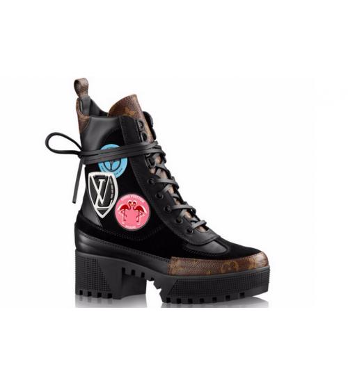 Ботинки женские Louis Vuitton (Луи Виттон) Black/Brown/Pink
