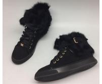 Кеды зимние женские Louis Vuitton (Луи Виттон) Black