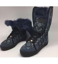 Кеды зимние женские Louis Vuitton (Луи Виттон) Blue\Grey