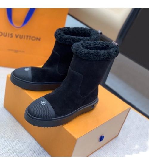 Ботинки женские Louis Vuitton (Луи Виттон) Breezy на плоской подошве из овчины и замшевой кожи телёнка Black