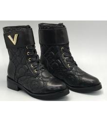 Ботинки женские Louis Vuitton (Луи Виттон) брендовые кожаные с логотипами Black