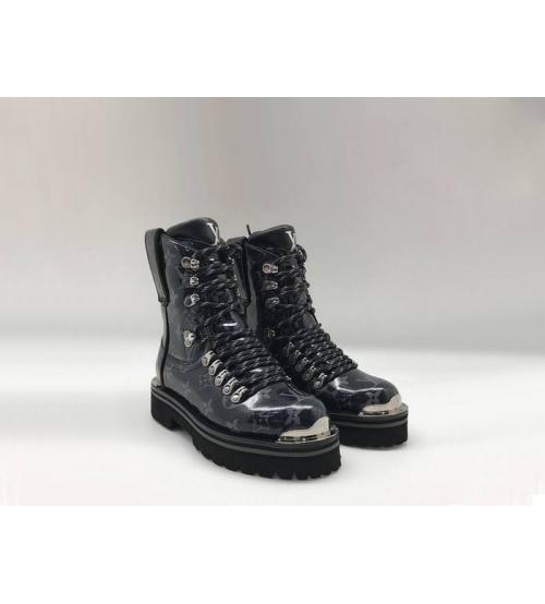 Ботинки женские Louis Vuitton (Луи Виттон) брендовые осенние кожаные Black