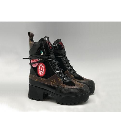 Ботинки женские Louis Vuitton (Луи Виттон) CheckPoint Black/Brown