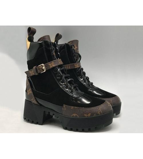 Женские ботинки Louis Vuitton (Луи Виттон) CheckPoint кожаные Black/Brown