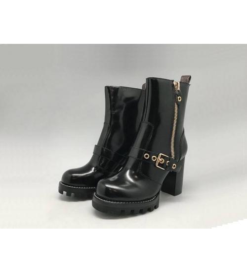 Женские ботильоны Louis Vuitton (Луи Виттон) CheckPoint кожаные с молнией Black