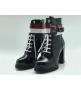 Женские ботинки Louis Vuitton (Луи Виттон) Laureate кожаные высокие на шнурках Black