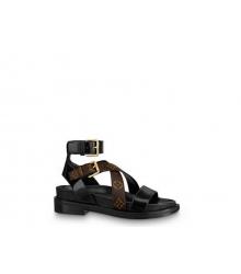 Женские сандалии Louis Vuitton (Луи Виттон) Crossroadsr кожаные с регулируемыми ремешками Brown/Black