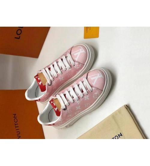 Женские кеды Louis Vuitton (Луи Виттон) Frontrow кожаные из канвы Monogram Pink