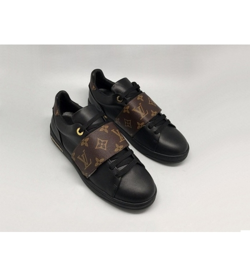 Женские кеды Louis Vuitton (Луи Виттон) Frontrow кожаные на липучке Black/Brown