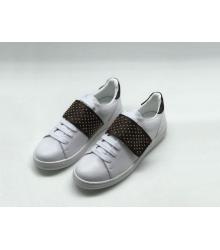 Женские кеды Louis Vuitton (Луи Виттон) Frontrow кожаные на липучке White/Black