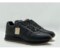 Мужские кроссовки Louis Vuitton (Луи Виттон) Frontrow кожаные New Black