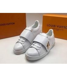 Женские кеды Louis Vuitton (Луи Виттон) Frontrow кожаные с липучкой White