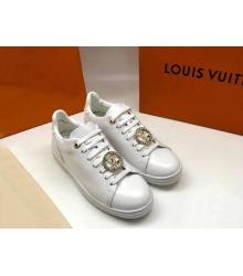 Женские кеды Louis Vuitton (Луи Виттон) Frontrow кожаные с лого White