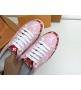 Женские кеды Louis Vuitton (Луи Виттон) Frontrow кожаные с открытой пяткой на шнурках Pink/Red