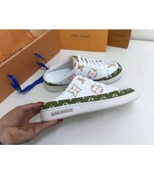 Женские кеды Louis Vuitton (Луи Виттон) Frontrow кожаные с открытой пяткой на шнурках White/Green