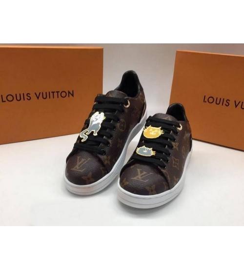 Женские кеды Louis Vuitton (Луи Виттон) Frontrow кожаные со значками Brown