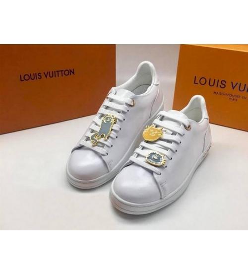 Женские кеды Louis Vuitton (Луи Виттон) Frontrow кожаные со значками White