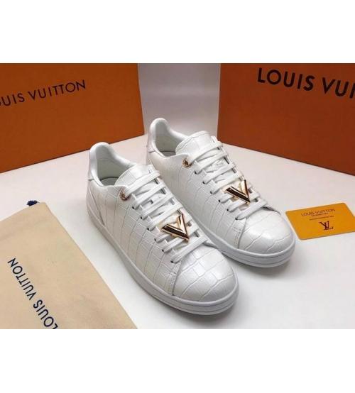 Женские кеды Louis Vuitton (Луи Виттон) Frontrow кожаные White