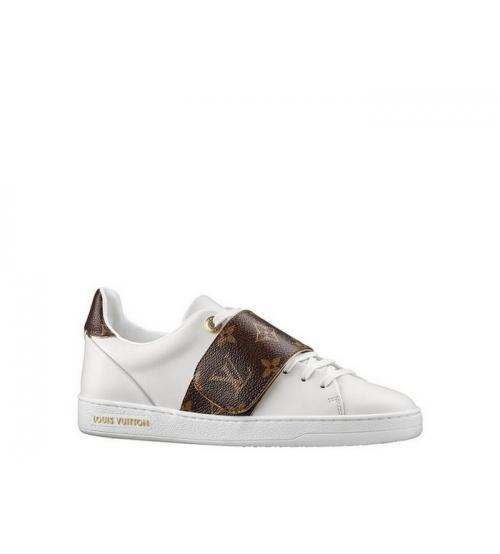 Женские кеды Louis Vuitton (Луи Виттон) Frontrow на липучке кожаные с лого White/Brown