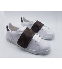 Женские кроссовки Louis Vuitton (Луи Виттон) Frontrow с липучкой White/Brown