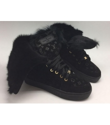 Кеды зимние женские Louis Vuitton (Луи Виттон) Full Black