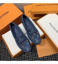 Женские лоферы Louis Vuitton (Луи Виттон) Gloria кожаные с логотипами Blue