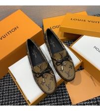 Женские лоферы Louis Vuitton (Луи Виттон) Gloria кожаные с логотипами Brown