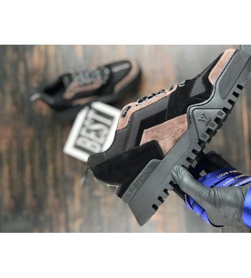 Кроссовки мужские Louis Vuitton (Луи Виттон) Hiking комбинированные на шнуровке Black/Brown