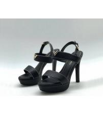 Женские босоножки Louis Vuitton (Луи Виттон) Horizon кожаные на платформе каблук шпилька Black